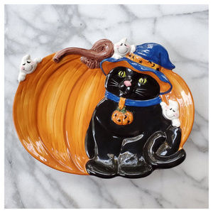 Harry and David Halloween Cat Candy Plate